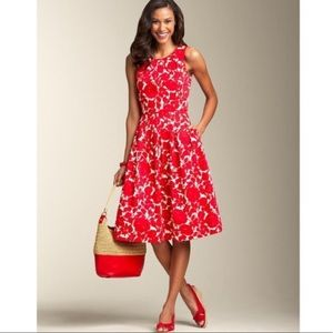 Talbots Red/White Floral Fit and Flare Dress 8P
